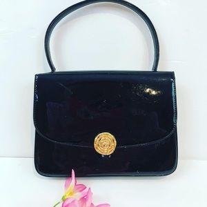 Vintage 50/60's black patent leather rose mini bag